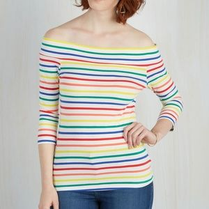 Modcloth Off the Shoulder 3/4 Sleeve Striped Top